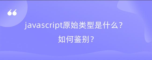 javascript原始类型是什么?如何鉴别?